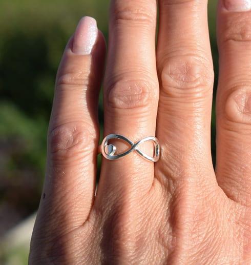 evighetssymbol i form av en ring på ett finger