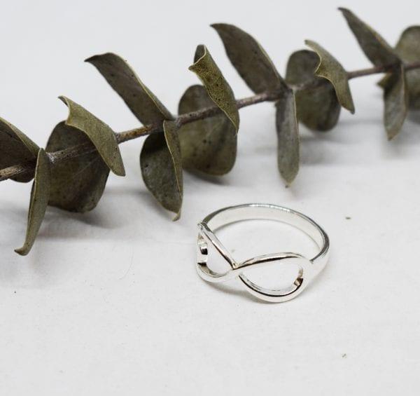 endless-love silverring med vit bakgrund och en grön kvist på bilden