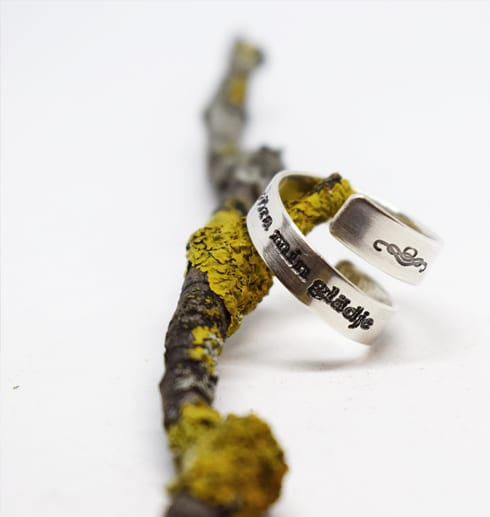 silverring på trädgren med vit bakgrund