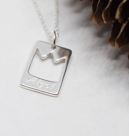 smycke med prinskrona mot vit bakgrund och en kotte