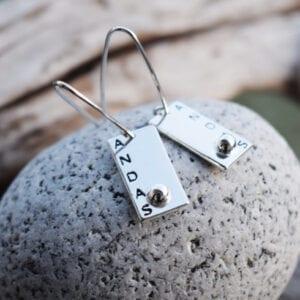 silverörhängen på sten utomhus