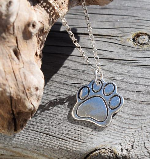 silverhalsband i form av en hundtass mot trä och trädgren