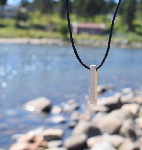 silverstav som hänger i luften vid havet