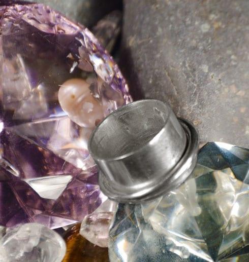 silverring på diamanter