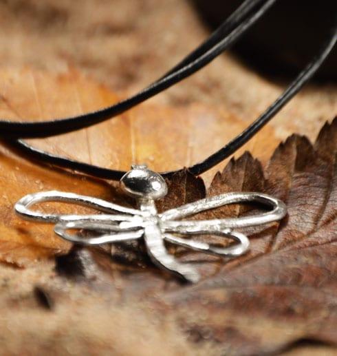 trollslända i silver på bruna löv