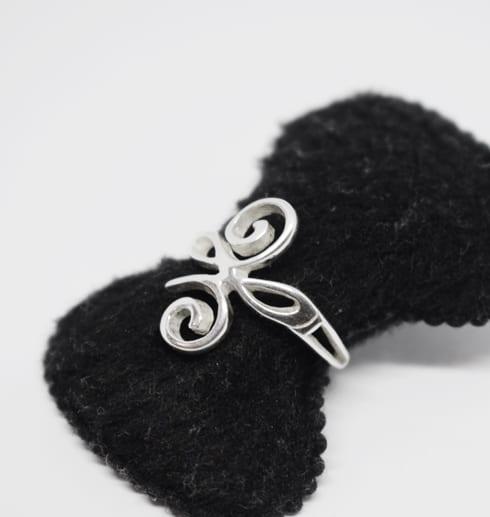 silverring på svart ringhållare