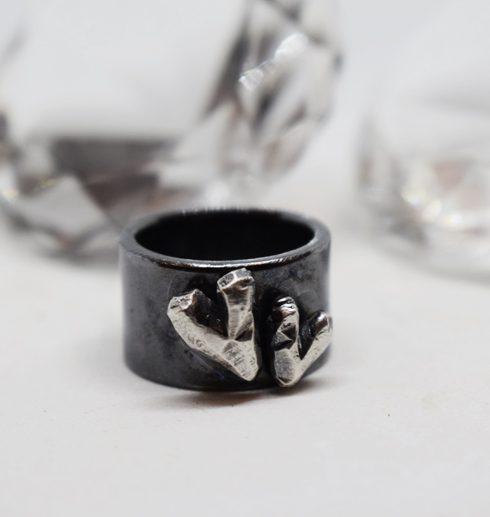 svartoxiderad silverring med två hjärtan på vit botten med glasdiamanter i bakgrunden